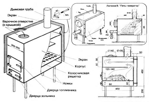 на дровах схема