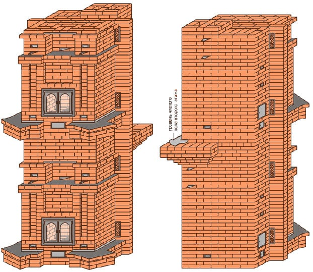 Двухэтажная печь из кирпича