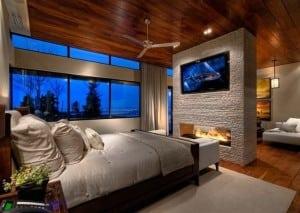 Идея дизайна спален с камином