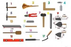 Инструменты, которые понадобятся для кладки печи