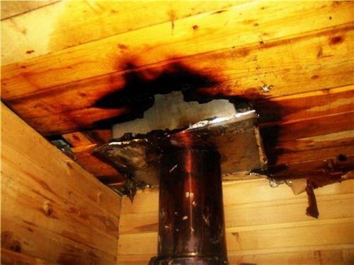 Из-за ошибки в монтаже дымохода может возникнуть пожар