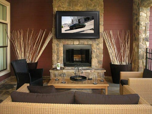Телевизор с камином в интерьере
