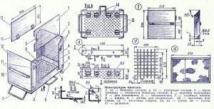 Конструкция переносного мангала-чемодана