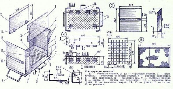 Мангал складной чертежи и пошаговая инструкция