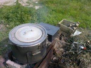 Коптильня из стиральной машинки на мангале