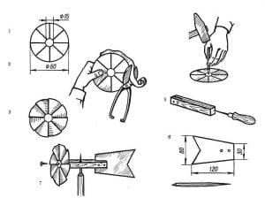 Пропеллер для флюгера схема