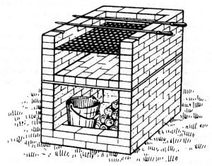 Шашлычница из кирпича схема