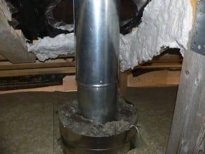 Разделка печной трубы на потолке