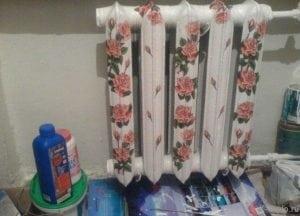 Декупаж радиатора салфетками