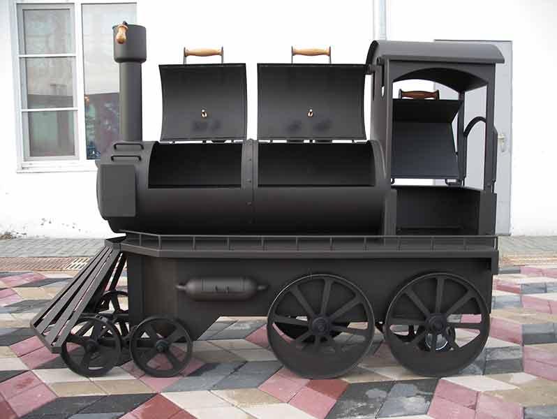 Мангал стилизованный под паровощ
