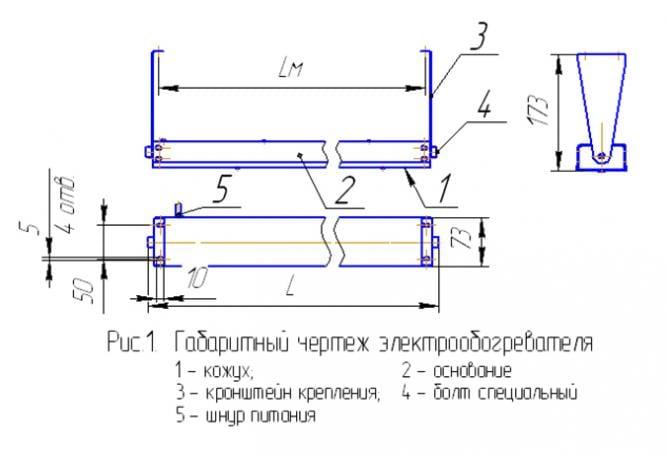 Схема устройства ИК обогревателя