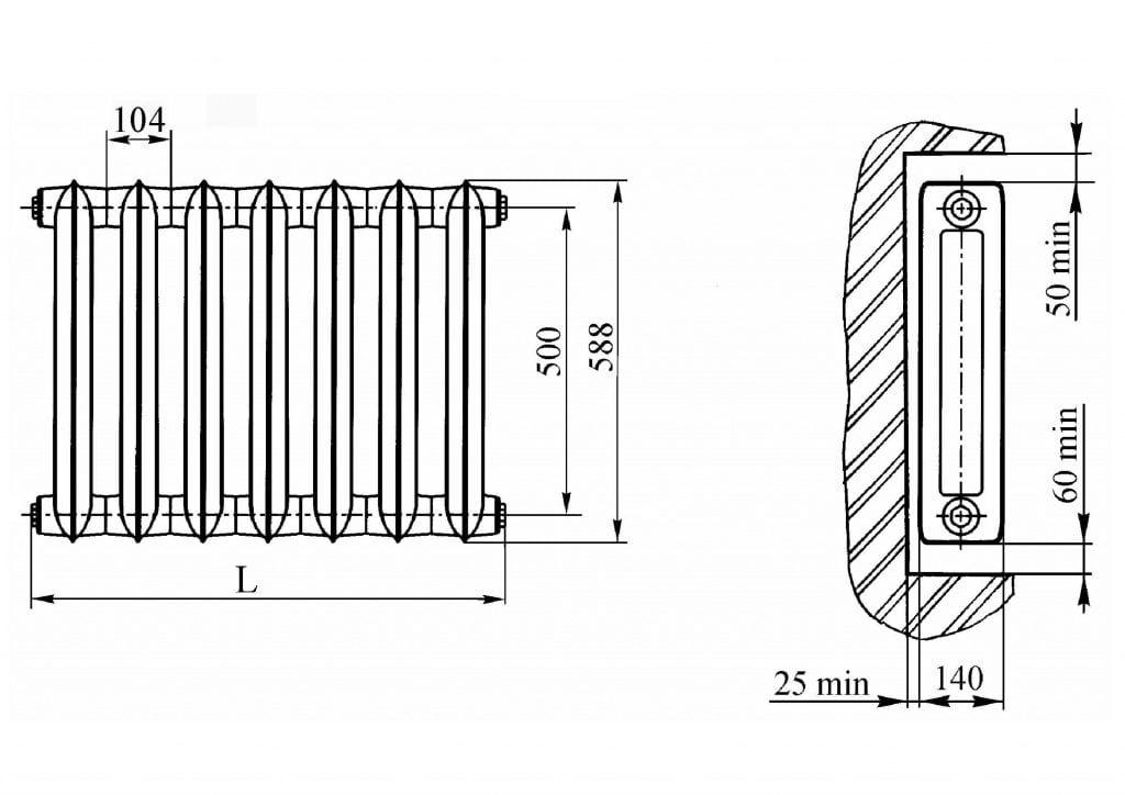 Размеры чугунного радиатора МС-140