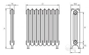 Размеры стандартных радиаторов из чугуна
