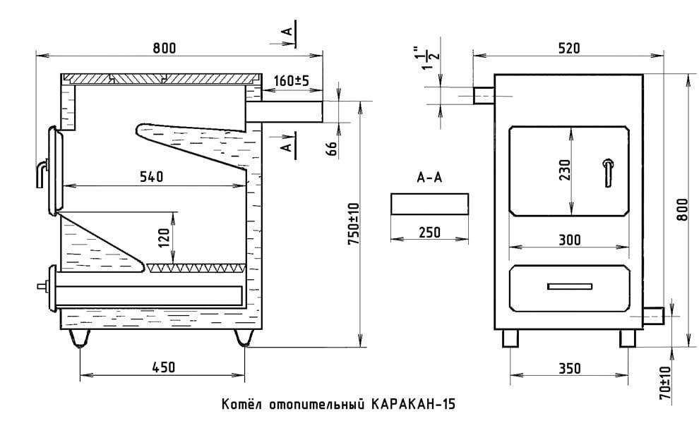 Схема с пропорциями стандартного отопительного котла