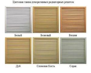 Цветовая гамма радиаторных решёток