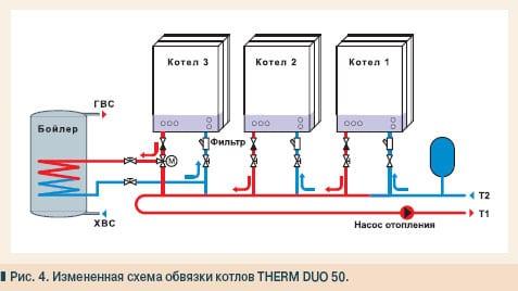 Схема обвязки с использованием однотипных котлов