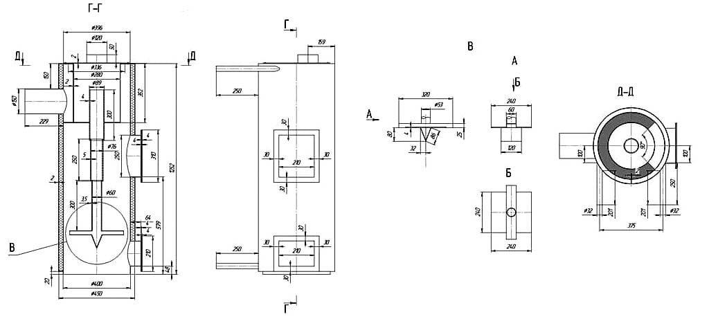 Схема полноценного котла верхнего горения
